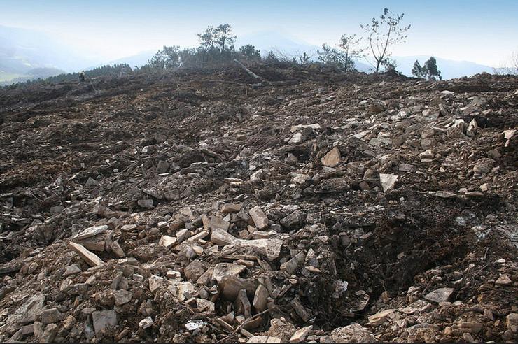 Unha platación de eucaliptos destrozou o castro de Castelo de Monte da Arca en Mondoñedo | Fonte: Mariña Patrimonio
