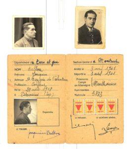 Documentos de deportado de Joaquín Balboa, republicano internado no campo de concentración nazi de Mauthausen