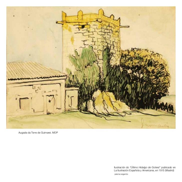 Debuxo que Castelao fixo da Torre de Guimarei, na Estrada