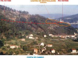 Situación do castro de Montealegre, afectado pola futura autovía do Morrazo
