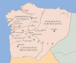 Antiga provincia romana da Gallaecia, onde predicou