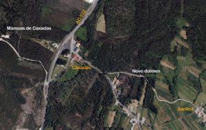 Localización do dolmen de Caxadas, en Vimianzo