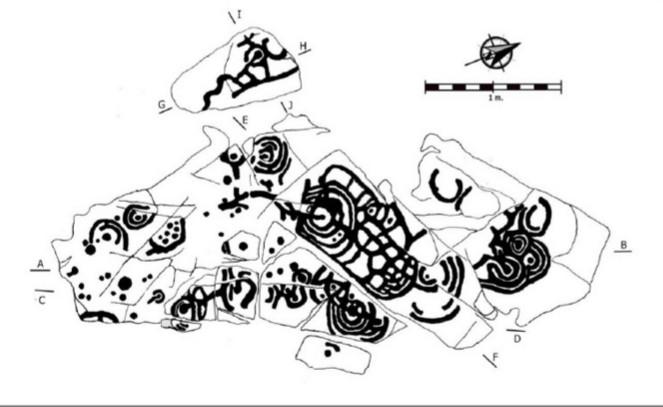 Panel 1 dos petróglifos de A Carreira, en Ponteareas / Julio Fernández Pintos