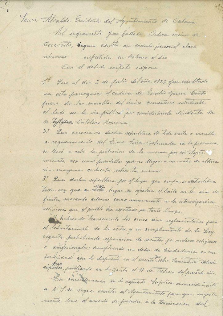 Unha das cartas enviadas por un veciño de Corcoesto ao Gobernador Civil da Coruña para a construción dun edificio civil