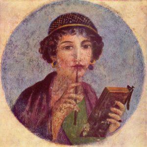 Un fresco dunha escritora romana nunha parede de Pompeia