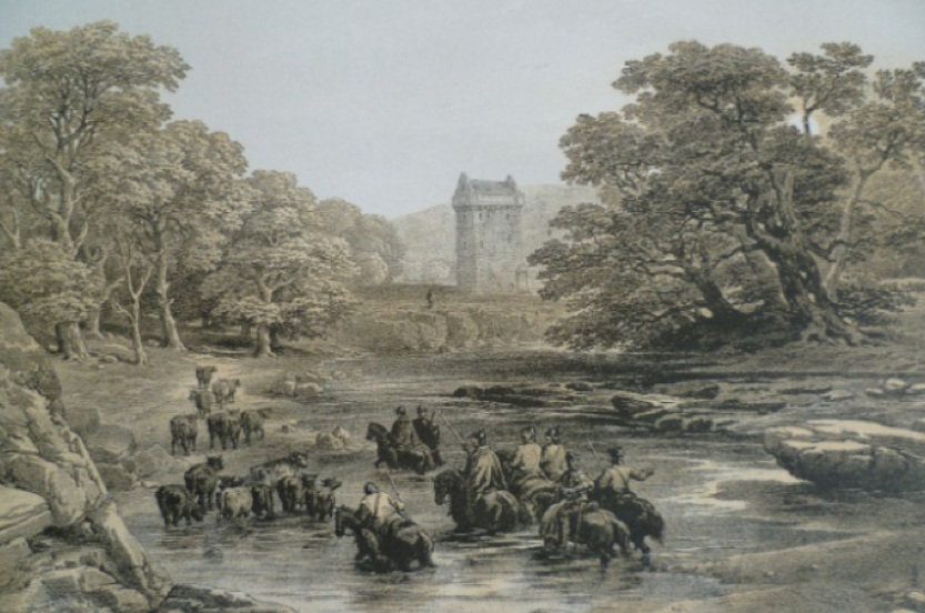 """Border reivers at Gilnockie Tower, from an original drawing by G. Cattermole."""""""