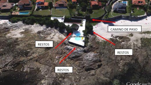 Distribución dos restos atopados en Punta Sobreira da antiga factoría de salgadura romana / Duvi